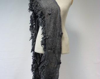 Grey mohair scarf, handmade.