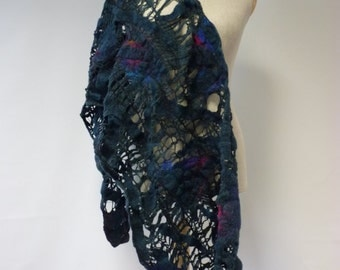Handmade boho artsy felted shawl. Perfect for gift; warm and fashion look together.