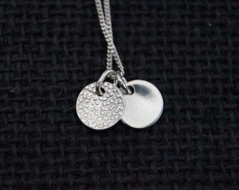 Sterling Silver Necklace with two sterling silver discs - Minimalist Jewelry - Silver Pendant - Dot Pendant - Handmade - Mint & Vintage