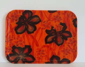 Vintage Fiberglass Serving Tray/ Mid Century/ Retro Barware/ Flowers/ Orange and Black
