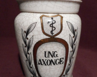 JULY SALE 15% OFF Vintage? Drug Store Ceramic Pharmaceutical Apothecary Jar Ung Axonge with Crazing and Cover