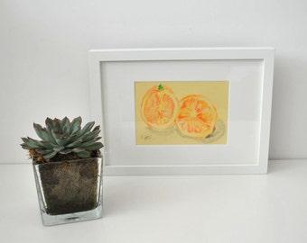 Framed Orange Pencil Drawing