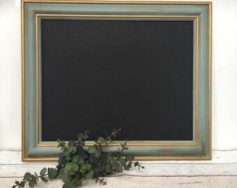 Large Chalkboard, Duck Egg Blackboard , Magnetic ,  Shabby Chic, Chalkboard, Chalkboard for kitchen, wedding , Framed Chore Board 53cm X 63c