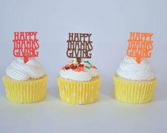24 Thanksgiving Cupcake Toppers // Thanksgiving Cupcake Picks