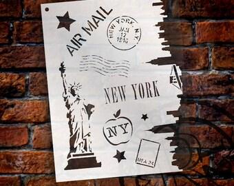 "Passport To New York - Art Stencil - 8.5"" X 11"" - STCL854_1 by StudioR12"