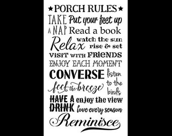 Porch Rules Word Art Stencil - Select Size - STCL1015 by StudioR12