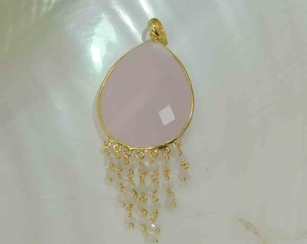Pink Chalcedony  22k Gold Plated 925 Sterling Silver Pendant.