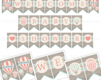 Hot Air Balloon Baby Shower Bunting Banner Instant Download Flag