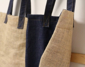French Market Bag - Burlap & Denim - Keep blank or decorate