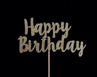 Happy Birthday Cake Topper - Glitter Gold