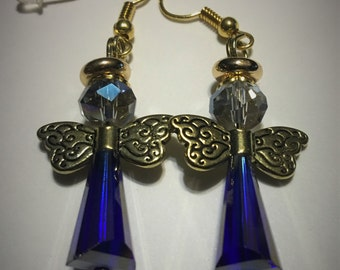 Blue Swarovski angel earrings