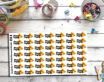 014 - (Pizza Night Stickers) Pizza, Kiss Cut Stickers, Planner Stickers
