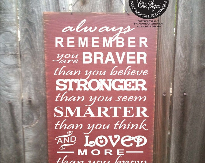 Always Remember You Are Braver, Always Remember Sign, Christopher Robin Sign, Winnie The Pooh Quote, 97