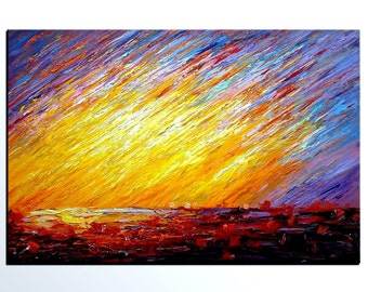 Colorful SKy Painting, Landscape Painting, Abstract Painting, Canvas Art, Original Art, Wall Art, Large Art, Original Panting, Oil Painting
