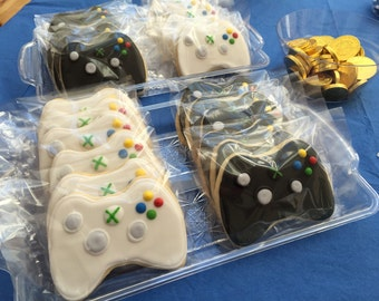 12 xbox remote control cookies xbox game or ps4 controller inspired - VIDEO GAME themed bday party video xbox CONTROLLER white or black -coo