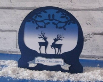 Reindeer Snow Globe Card & Topper...............SVG FCM and MTC formats included......Commercial Use