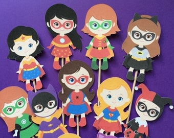 Superhero cupcake toppers, 12 Girl superheroes cupcake  toppers, super hero themed party, Batswoman toppers, Superwoman, superhero girls