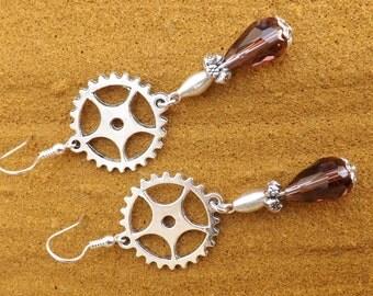 Steampunk earrings, Quirky steam punk earrings, cog earrings, sterling silver ear wires