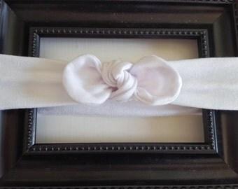 White Jersey Knot Headband, jersey knit headband, white headband, baby girl gift