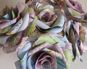 Map Paper Flower Bouquet, Map Paper Flowers, Home Decor, Wedding Flowers, Map Paper Rose- 6 Large Roses.