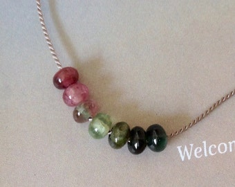 Minimalist Watermelon Tourmaline necklace- Tourmaline silk necklace, October birthstone, sterling silver,  natural gemstones
