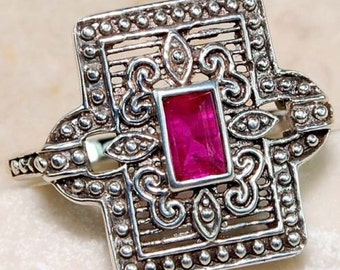 Vintage 1ct Natural Ruby Ring Size 8 - Solid Sterling Silver .925