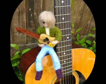 Needle Felted Kurt Cobain, Nirvana, Grunge, Post Pop, Music, Gift, Present