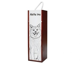 Akita Inu - Wine box with an image of a dog.