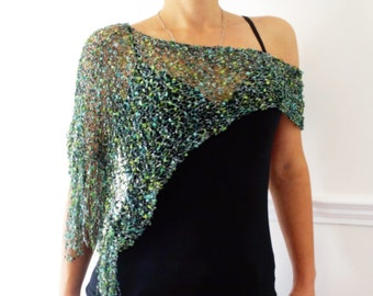 Knitting Pattern - Party Glitter Wrap, Asymmetrical Loose Metallic Knit Evening Poncho,See-through Shoulders Cover up