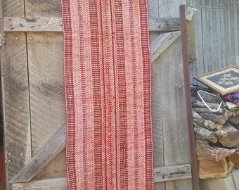 Vintage woven rag floor runner in bright red