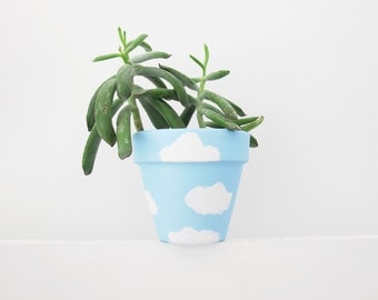 Hand Painted Plant Pot - Clouds