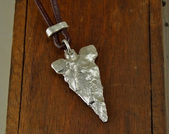 Fine Silver cast Arrowhead Necklace of Neolithic Sahel desert Flint Point