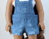 "Distressed Denim Cut Off Short Overalls for 18"" Dolls such as American Girl"