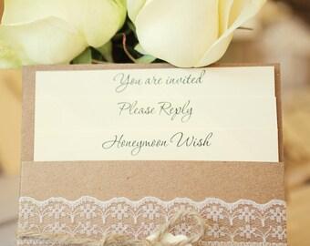 1 Vintage/Shabby Chic Style lace Pocket Wedding Invitation Sample - Rebecca Range