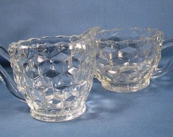 Vintage Pressed Glass Sugar and Creamer Set