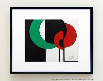 TREES 1 Abstract, Small Minimal Art, Original 4x5 in Contemporary Nature Art, Contemporay Trees, 1 of Triptych, Modern Art Series