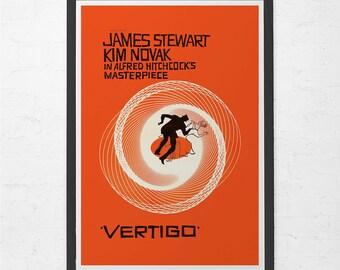 VERTIGO MOVIE POSTER - Alfred Hitchcock Poster - Vintage Vertigo Poster - Cult Movie Poster, Classic Movie Art
