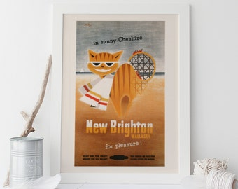 NEW BRIGHTON POSTER - England Travel Poster, Vintage Travel Poster, Mid Century Wall Art, Cottage Wall Art