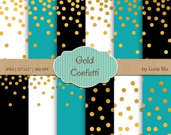 "Gold Confetti Digital Paper: ""Gold Foil Confetti"" Turquoise and Gold, Black Turquoise White and Gold Foil Scrapbook Paper, Gold Confetti"