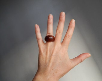 Vintage wooden Ring Handmade Jewelry  Brown wood Ring