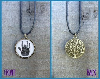 Grateful Dead Jerry Garcia's Handprint Necklace with Tree of Life Back