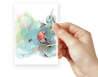 Bird print sample of a red robin watercolor in blue and orange. Small prints for you to test the colour match with your home decor.
