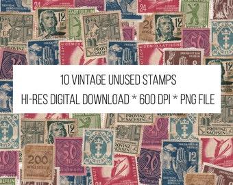 10 Vintage Unused Stamps from East Germany - Digital Download