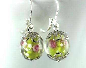 75% OFF SALE Simple Dangle Earrings Lamp Work Glass Filigree Pretty 925 Lever Back Ear Wire