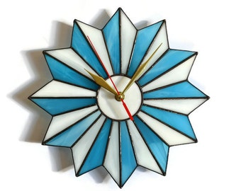 Mid Century Modern Wall Clock Stained Glass Mid-Century Starburst Atomic Unique Midcentury Geometric Hanging Art Decor Turquoise Blue White