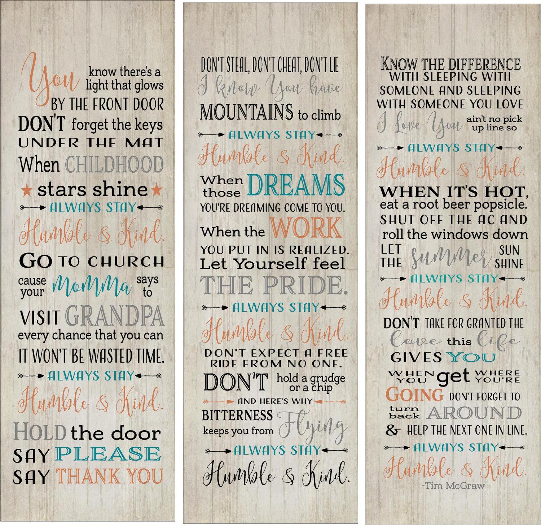 Christmas Song The Gift Lyrics: Mother's Day Always Stay Humble & Kind Lyrics Set Of 3