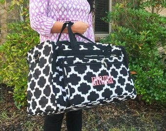 "22"" Quatrefoil Duffle Bag, Black Duffle Bag, LARGE Duffle bag, Women Duffle Bag, Overnight Bag, Weekend Bag, Monogrammed Luggage, Gym Bag"