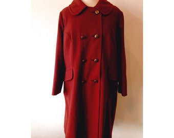 60's Rust colored wool jacket with carved lucite buttons - Large XLarge