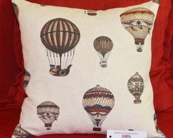 """Montgolfier Hot Air Balloons Cushion Cover 16.5""""x16.5"""" 42cm sq Cotton Blend Cream, Brown, Beige, Blue"""