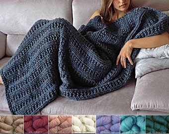 Merino Wool Blanket KNIT KIT Super Bulky Soft Chunky Thick Yarn Kit. #19 Circular Needles + Easy Knitting Pattern. Cape Cod by Living Dreams